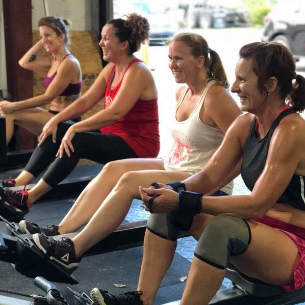Group of People on Concept2 Rowers
